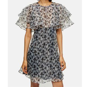 Topshop NEW Organza Tiered Ruffle Floral Dress